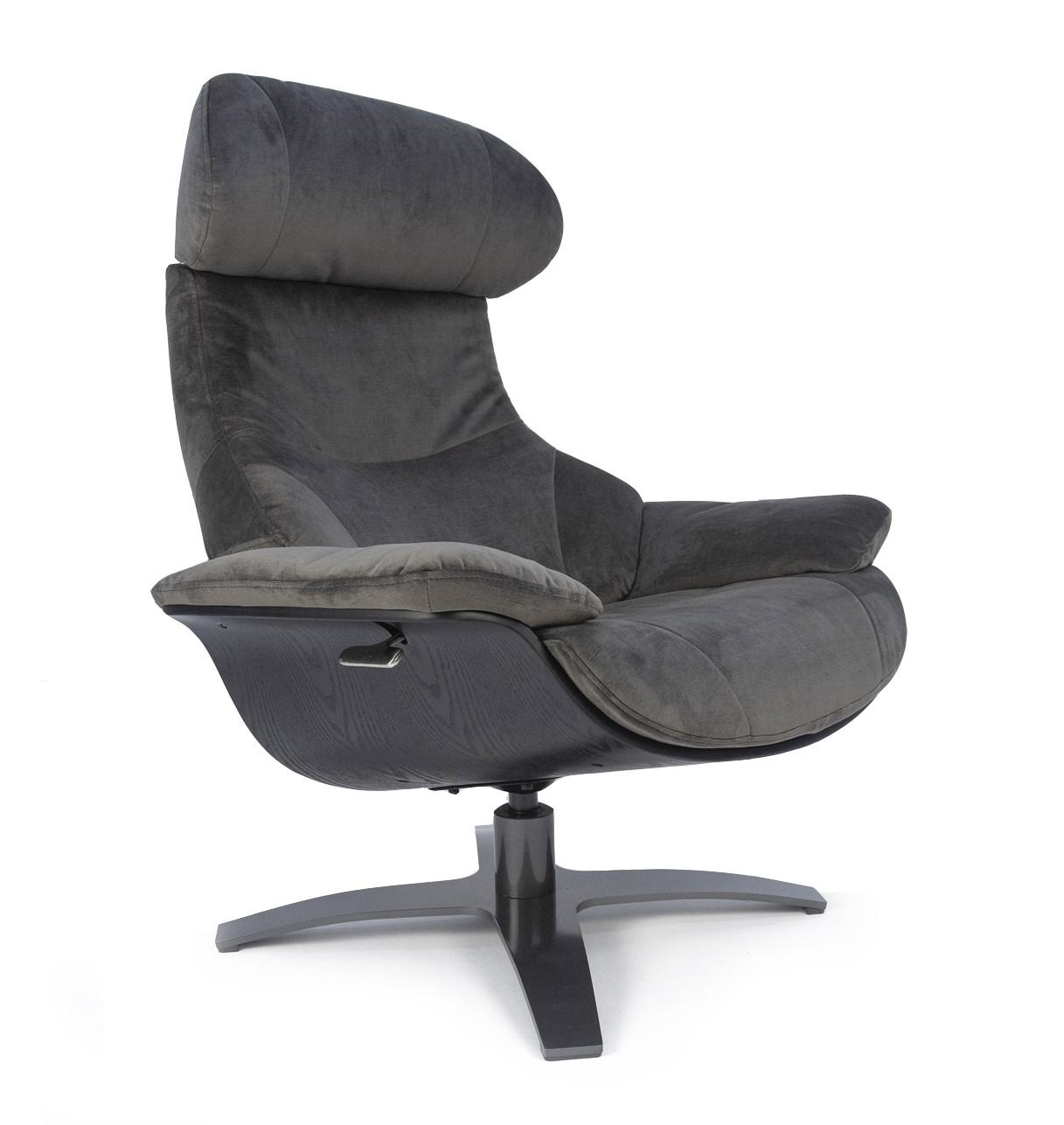 ANTARES - Brown Velvet & Black Oakwood Relax Chair