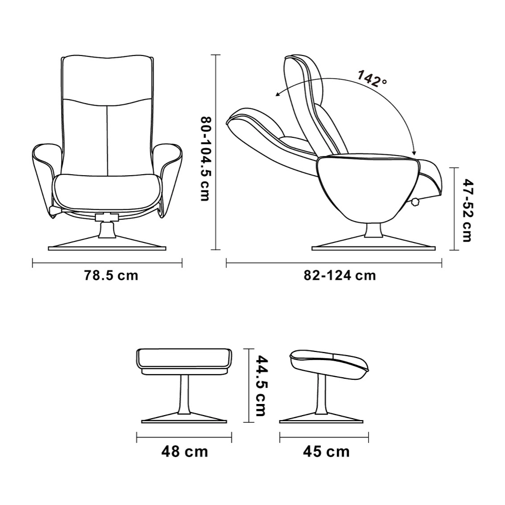 Leather and Microstar Manual Relaxation Armchair - NEPHOS Relaxation armchair