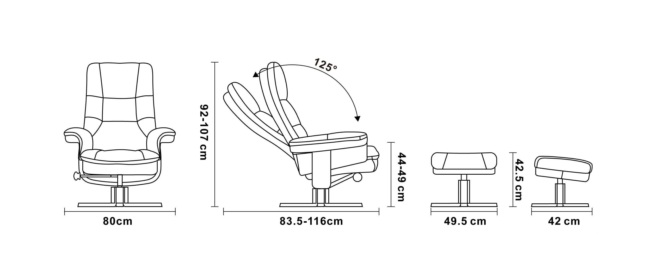 Sillón de relajación manual de piel y microfibra - HIPPEUS