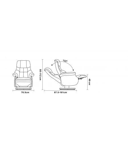 COSY - Fauteuil de Relaxation Design avec Pouf Intégré - Cuir et Microstar