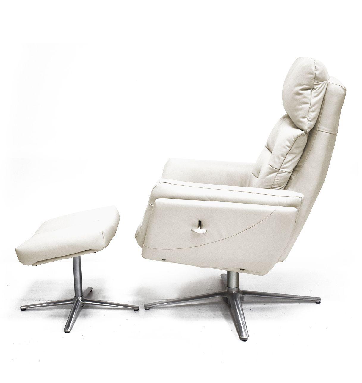 Sillón relax de cuero con otomana - base de estrella de aluminio - IZAR Sillones Relax