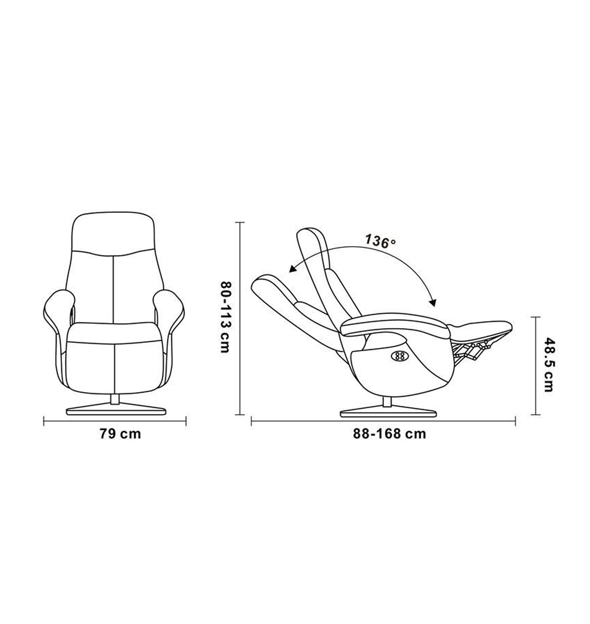 Leather and Microstar Manual Relaxation Armchair - THARROS Home
