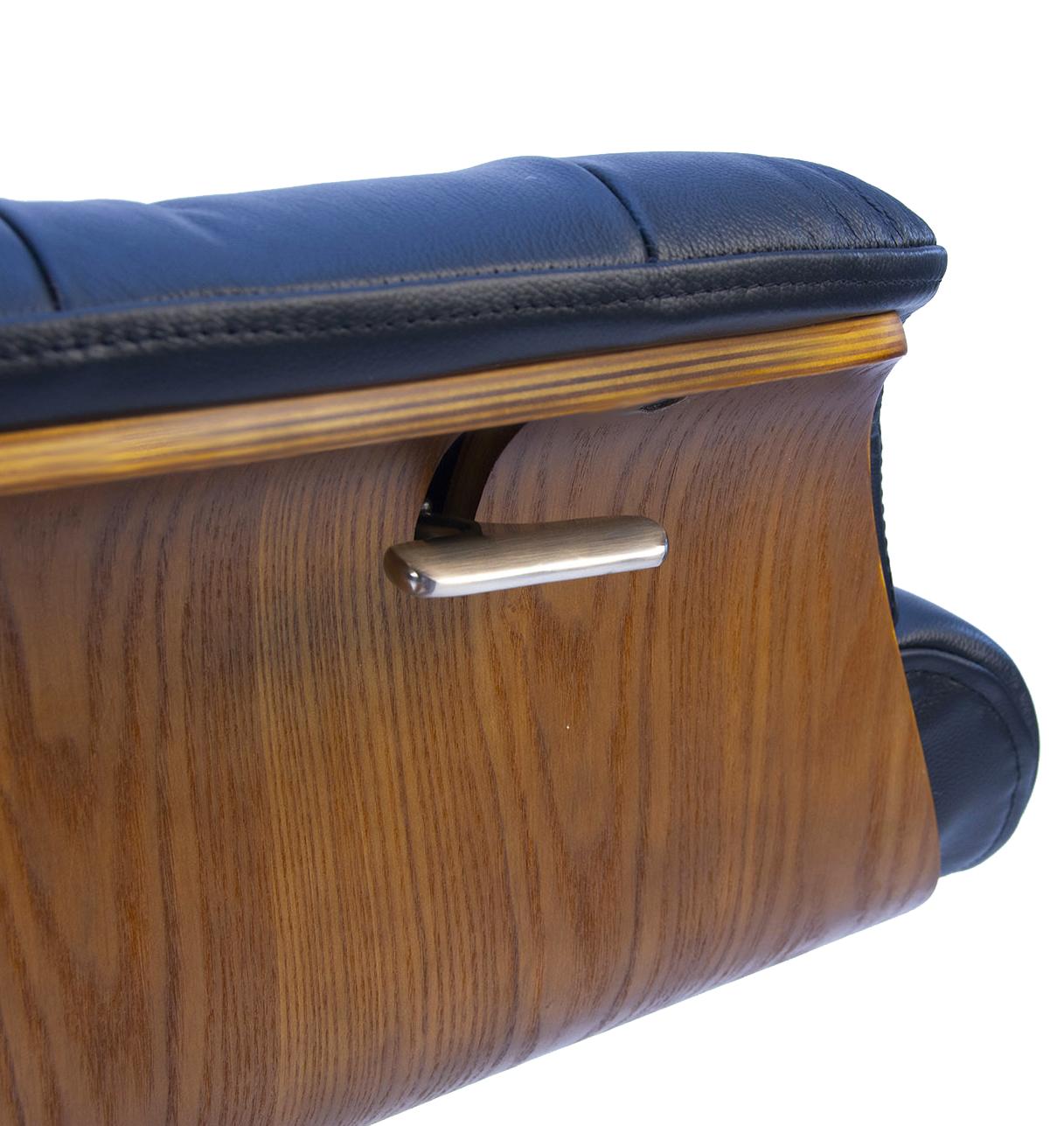 Fauteuil en cuir et bois chêne naturel - Véga